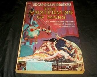 EDGAR RICE BURROUGHS The Mastermind Of Mars 1960's  Vintage Ace Sci Fi Paperback Book John Carter Mad Scientist Ape Brain Transplant