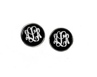 Monogram Button Earrings/ Monogram Earrings/Disc Earrings/ Monogram Post Earrings