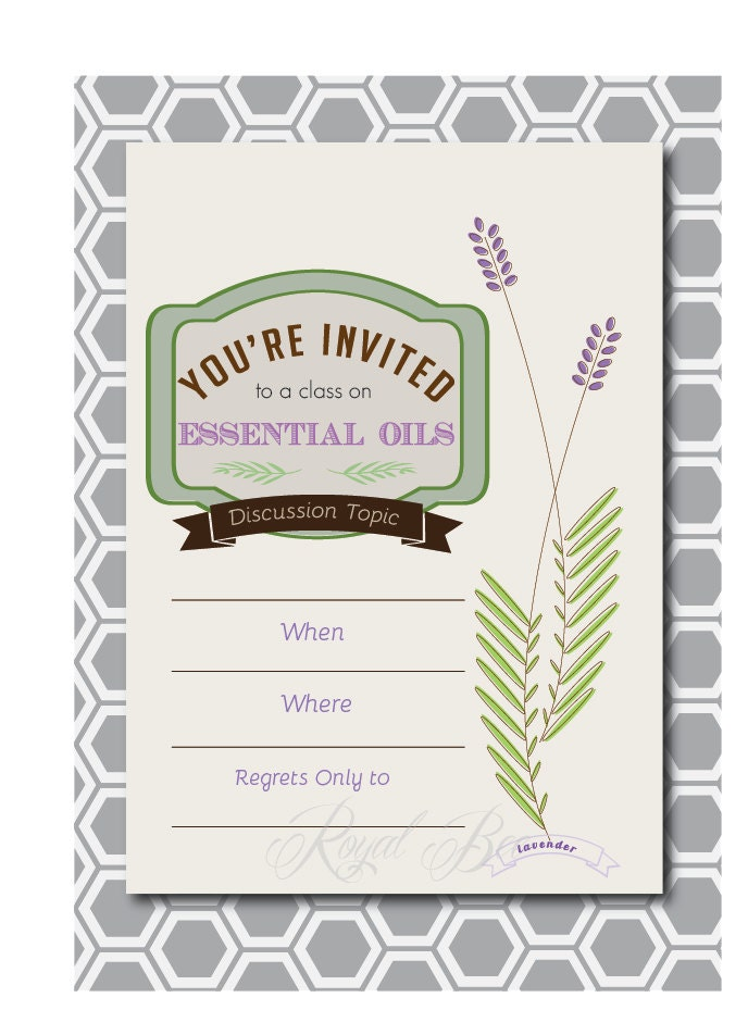 Lavender Essential Oil Party Printable by RoyalBeePaperie on Etsy