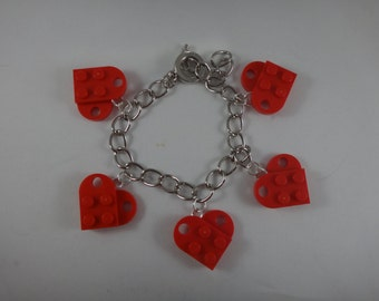 BrickCrafts LEGO® Fashion Red Heart Charm Bracelet with Toggle Clasp