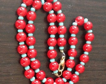 Red and Teal Beaded Necklace