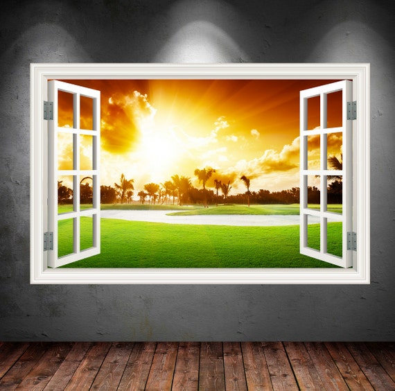 Golf Course 3D Window Wall Decal by PrintedGiftsUK