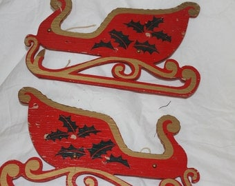 Two Sleighs for the Holiday Season, Decorations, Christmas Season, Home Decoration for Holidays, Vintage, Santa's Sleighs, Reindeer, Wood