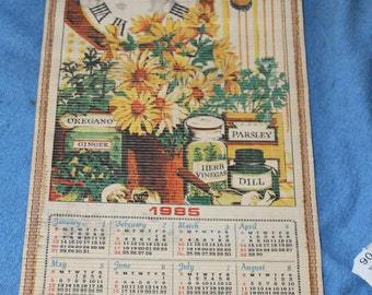 1985 Calendar, Wood Rollers, Unique, Hanging Device on Kitchen Wall, or Dining Room Wall, Vintage, Rolls Up, Wall Hanging, Home Decoration