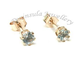 Solid 9ct Gold Blue Topaz Stud earrings 3mm Topaz S534