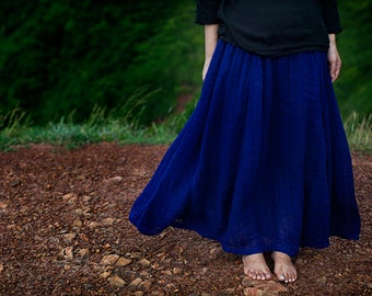 Blue semi sheer pleated linen skirts BonLife