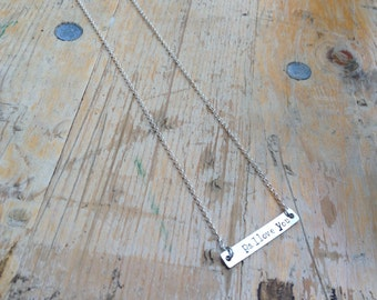 Hand stamped 'ps. I love you' bar necklace