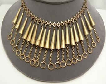 Vintage Art Deco Brass Bugles & Circles Statement Necklace