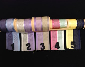 Vintage 4-Inch Wide Double Two-Colored Moire Ribbon with Satin Edges Made in Switzerland