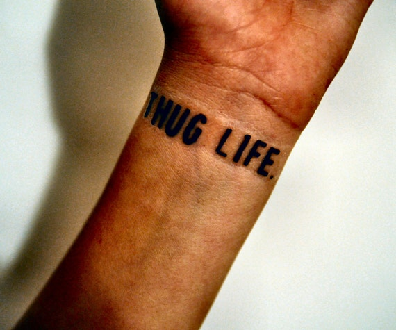 thug life temporary tattoo gangster by temporarytattooyou