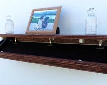 "47"" Oak Wall Shelf With Drop Down Hidden  Secret Compartment  For Guns,Valuables,Etc."