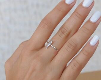 Lightning Bolt Ring, Silver Thunder Ring, 925 Sterling Silver, Minimalist, Length 12mm