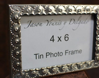 tin photo frame 4 x 6 hand punched New Mexican tinwork Jason Younis y Delgado www.newmexicotinwork