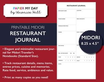 Midori Traveler's Notebook Restaurant Journal - Midori TN Restaurant Diary