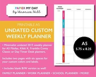 Filofax A5 Undated Custom Weekly Planner - Filofax Custom Planner - Filofax A5 2015 Calendar
