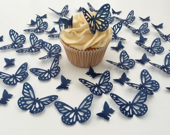 48 Edible Navy Blue Butterfly Wafer Cupcake Toppers Precut