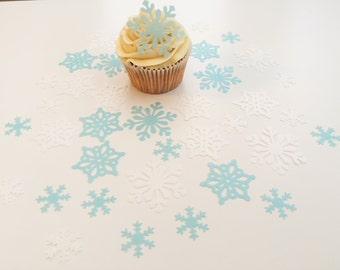38 Edible Blue and White Wafer Snowflake Collection Cupcake Toppers