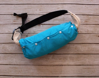 Reversible Turquoise and White Polka Dot Baby Carrier Bag, Ergo Carrier Bag, Boba Carrier Bag, Ergo Protector,  Ergo accessories.