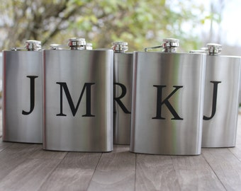 Stainless Steel 8oz engraved flask-set of 8- groomsmen gift- valentines gift