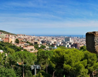 Barcelona Panorama view above the Park Guell, from the Turó de les tres Creus (Calvary) - The hill of the three crosses