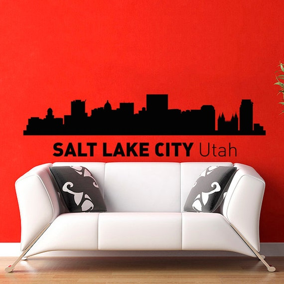 Salt Lake City Utah Skyline City Silhouette Wall Vinyl