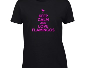 Keep Calm And Love Flamingos T-Shirt Funny Flamingo Lover Mens Womens Youth Kids Big And & Tall