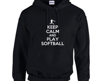 Keep Calm And Play Softball Mens Hoodie  Funny Humor