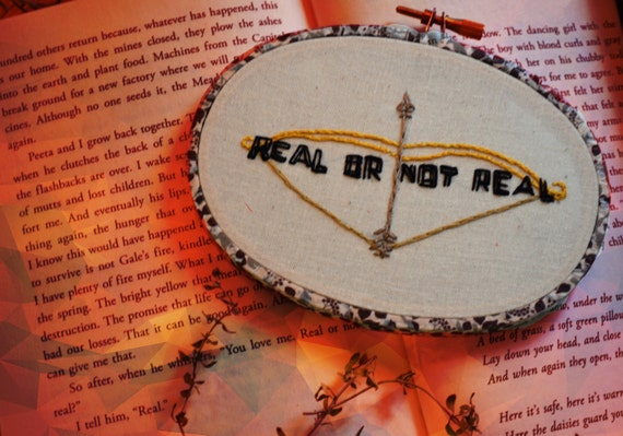 Hand Embroidered Real or Not Real Mockingjay 3x5 in. Art Hoop Wall Decor with Patterned Washi Tape Frame