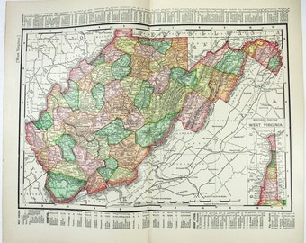 Vintage Original 1895 Map of West Virginia by Rand McNally