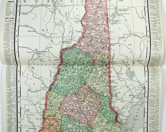 Vintage Original 1895 Map of New Hampshire by Rand McNally