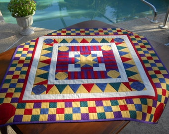 "Handmade Table Quilt, Patchwork Table Runner, Wall Hanging, ""Game Board"", 40"" x  40"" in Primary Colors"