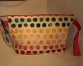 Knitting Project Bag - Medium Wedge with Zipper and interior pocket - Watercolor Dots
