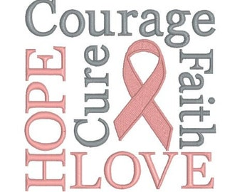 Embroidery Design Pattern - Breast Cancer Awareness Faith, Hope, Love, Courage, Cure