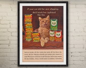 1965 FRISKIES CAT FOOD Advertisement • Funky Orange Tabby Cat • 1960s Retro Advertising Wall Decor Photo Animal Print Pet • 60s Vintage Ad