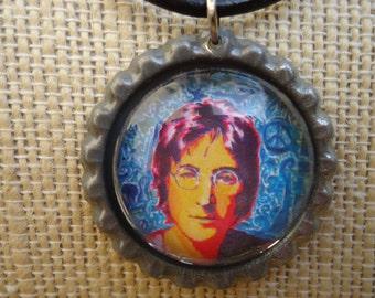 John Lennon inspired necklace flat bottle cap art