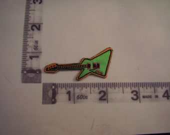 Green electric guitar iron on patch