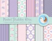 Pastel Shabby Chic Digital Paper Set - Shabby Chic Paper - Rose Paper - Set of 12 Digital Scrapbooking Papers