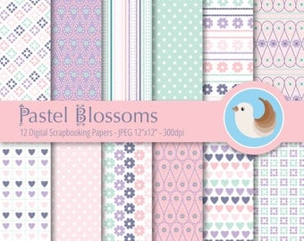 Pastel Digital Paper - Pastel Blossoms Digital Paper - Pink and Purple Paper - Set of 12 Digital Scrapbooking Papers