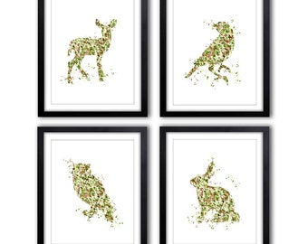 Boy's Room Artwork - Camouflage - Nursery Art - Woodland Theme - Brown and Green - Hunting - Adventure - Kids Wall Art - Set of 4 PRINTS