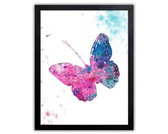 Butterfly Art Print - Abstract Watercolor Painting - Wall Decor - BU009