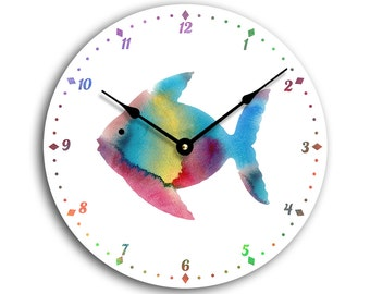 Contemporary fish design 10 inch child's wall clock. Watercolor fish on a white background CL3048