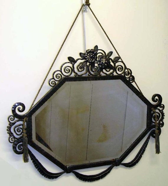 edgar brandt en fer forg fran ais art d co miroir france xxe. Black Bedroom Furniture Sets. Home Design Ideas