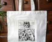 One CreamWhite Cotton Tote with an original illustration taken from the first edition of CS Lewiss Alice in Wonderland (Bag07)
