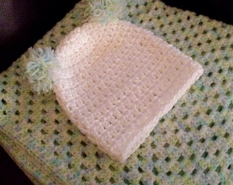 Crocheted Baby Hat and Blanket Set; Receiving Blanket; Pastel Blanket; Soft Baby Blanket; Baby Shower Gift; White, Blue, Green
