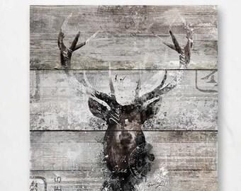"RUSTIC BARN DEER;Canvas Art by Eric Yang;30""x30"" Lodge Animal;Mouse Pad"