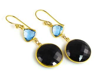 Black Spinel and Swiss Blue Quartz Earrings