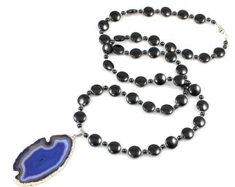 Hematite and Agate Slice Pendant Necklace