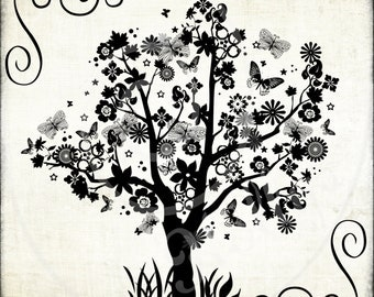 Digital Tree Butterflies Flowers Clipart Brushes Silhouettes
