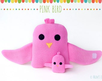 Pink bird plush toy set—hugging large and small bird stuffed animals
