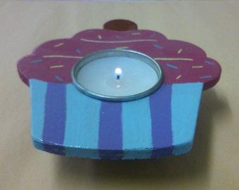 tea light holders. cup cake design. wood. available to buy today 13cm x 11cm